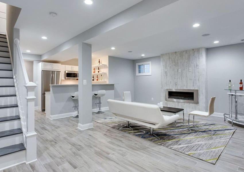 Porcelain Tile Flooring Basement