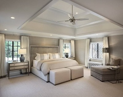Bedroom ceiling tray with fan