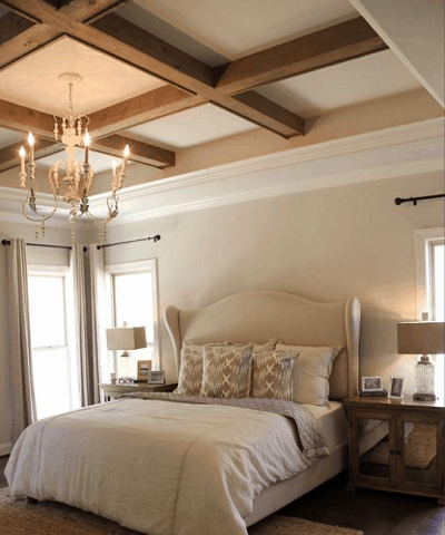 Ceiling Tray with Wooden Beams