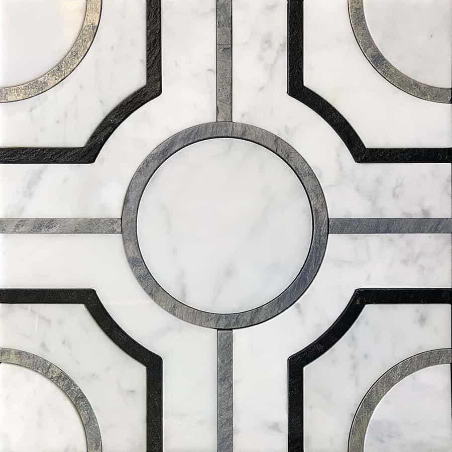 Roman Crossroads White Waterjet Mosaic With Silver Lines | TileClub